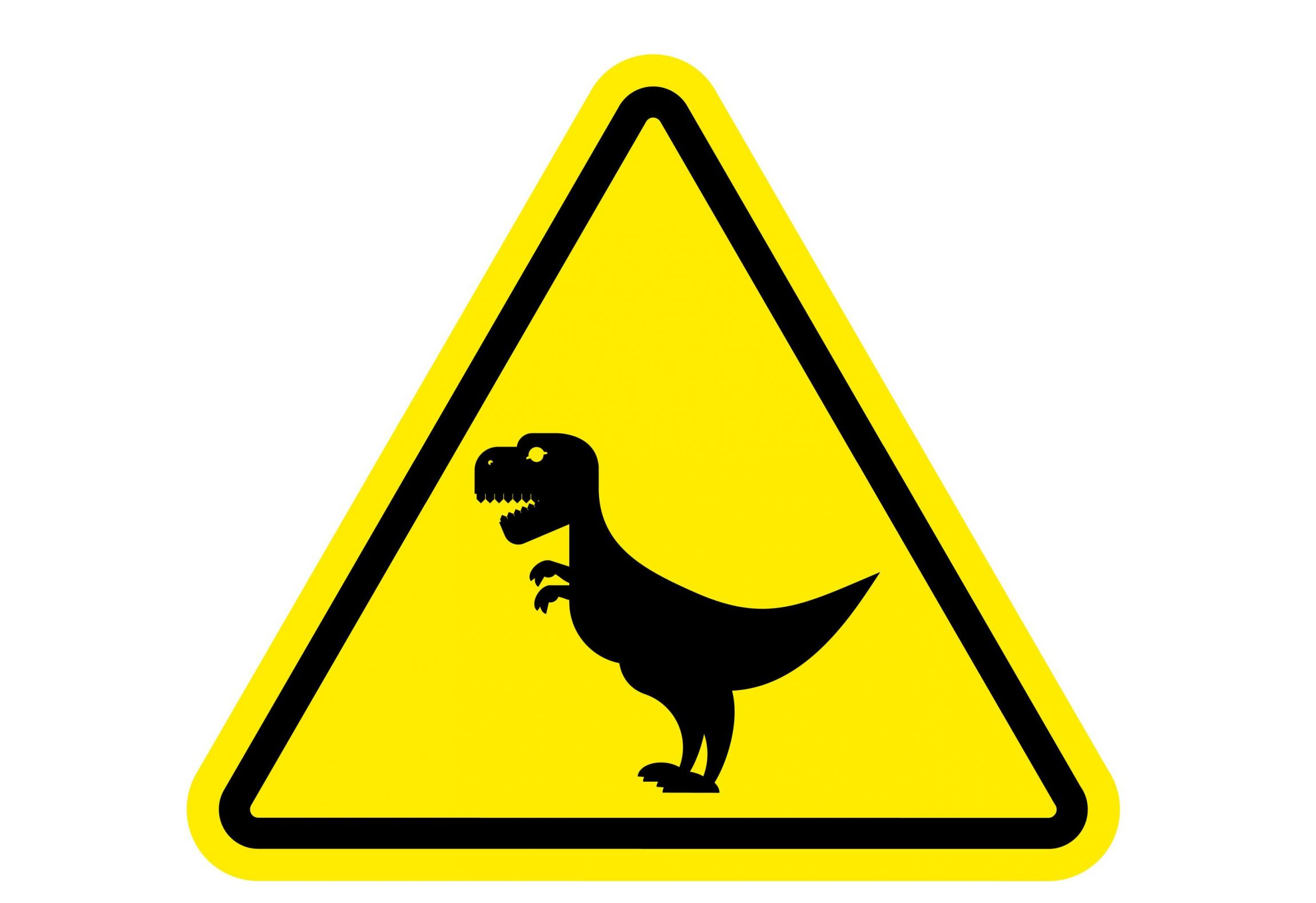 Digital Dinosaur Yellow Sign